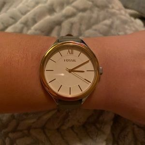 Fossil rose gold and grey leather watch